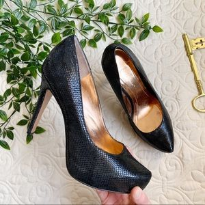 BCBGeneration Leather Snakeskin Print Heel Pumps